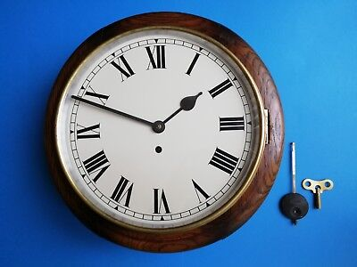 #085 Antique Oak Perivale Station/office Clock With An 8-Day Movement Wall Clock