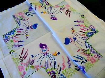 Gorgeous,Vintage,Hand Embroidered Tablecloth,Crinoline Ladies,Flower Garden