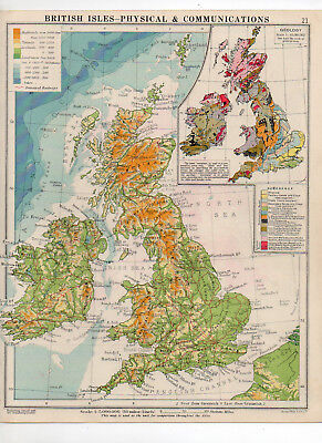 C1930 Antique Map Of British Isles Physical George Philip & Sons