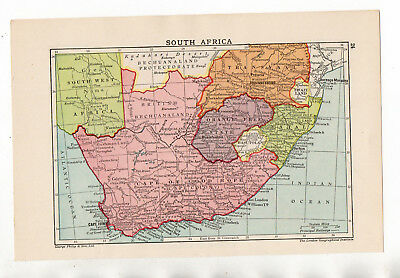 C1900 Antique Map Of South Africa George Philip & Sons