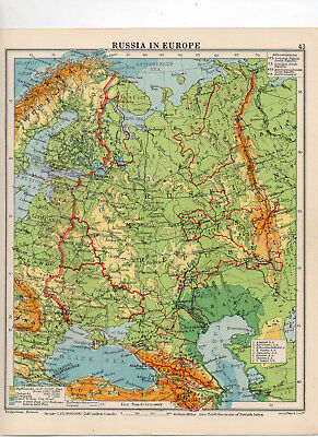C1930 Antique Map Of Russia In Europe George Philip & Sons