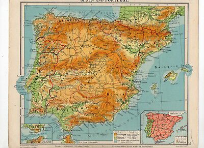 C1930 Antique Map Of Spain & Portugal George Philip & Sons