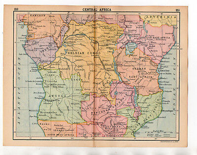 C1920 Antique Map Of Central Africa  John Bartholomew