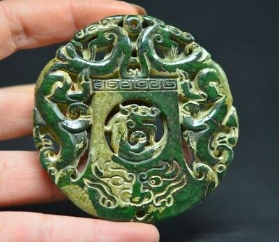 Exquisite Chinese Old Jade Carved Double Sided Dragon Lucky Pendant  A03