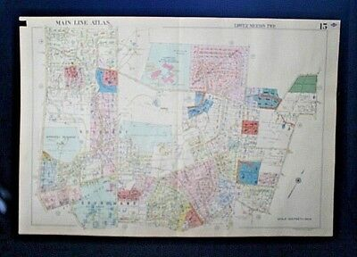 1961 Philadelphia MAIN LINE Map w/ Property Owner Names ~ LOWER MERION Township