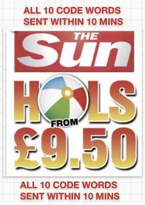 Sun Holidays £9.50 ALL 10 Booking Codes .SENT WITHIN 5 MINS.RAPID RESPONSE