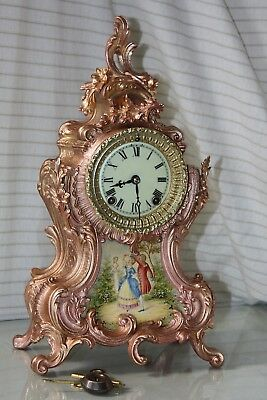 ANSONIA ANTIQUE   MANTEL/ SHELF ROSE-GOLD PLATED CLOCK  C/1880--Restored--
