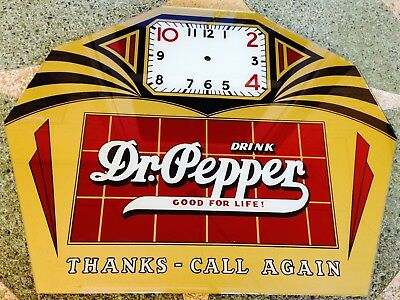 Rare DR PEPPER Reverse Painted CLOCK Face Good For Life! 22X17  LOOK!!