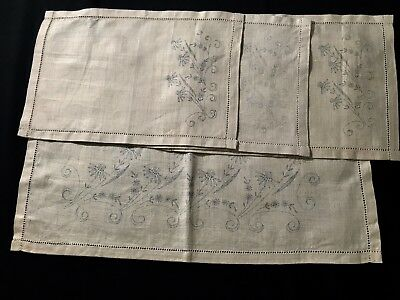 """Antique Vintage Runner & Three Doilies Stamped for Embroidery 13 1/2"""" x 9 1/2"""""""