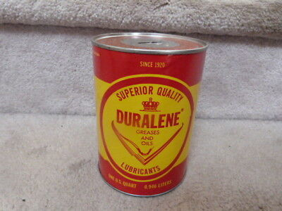 Vintage Duralene Motor United Oil Lubricants 1 Quart Can Bank Baltimore Maryland