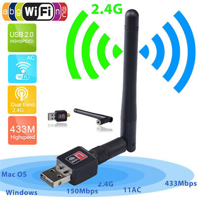 600Mbps Dual Band 2.4/5Ghz Wireless USB WiFi Network Adapter Antenna 802.11 BCDE