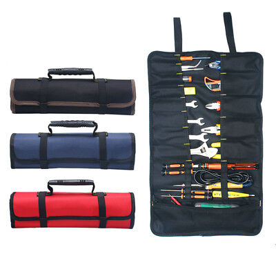 Canvas 22 POCKET TOOL ROLL Spanner Wrench Tool Storage Bag Case Fold Up