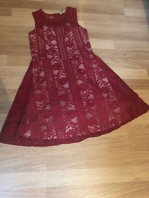 Girls  River Island Red Party Lace Dress Age 11 Years stunning