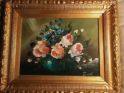 "Nice Bindi ""Still Life With Pink Flowers Scene"" Oil Painting - Signed And Framed"