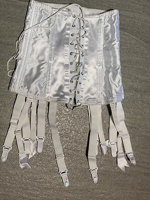 Custom Modified Fredericks White Waspie Corset With 12  Suspenders - Size Medium