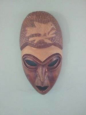 Hand Carved Wooden African Face Mask With Bird
