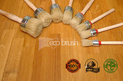 eco60 35 25 PAINT BRUSH SET OF 3 SHABBY CHIC CHALK PAINT WAX PURE BRISTLE BRUSH