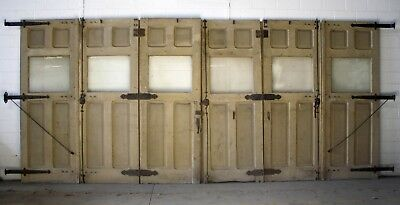 "20'x107""H Antique Vintage Victorian Wood Carriage House Garage Door Glass Window"