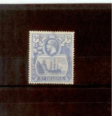 St. Helena 1922 3d Bright Blue with Broken Mainmast Flaw M/Mint SG101a CV £130