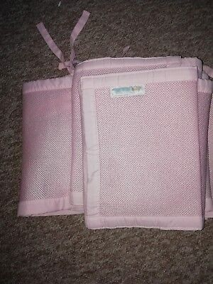 Breathable Baby Girls Pink Cot Bumper ***breathable*** Attaches With Strong...