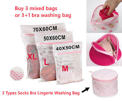 Zipped Laundry Washing Bag Mesh Net Underwear Bra Clothes Socks – multi Sizes