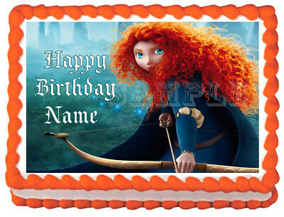 uncut EDIBLE Brave Merida Cake Topper Disney Princess Wafer Paper 7.5/""