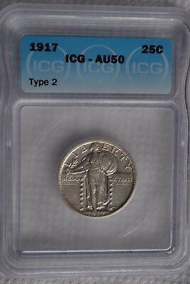 1917 TYPE 2 Standing Liberty Silver Quarter ICG Graded  AU50 Coin 25