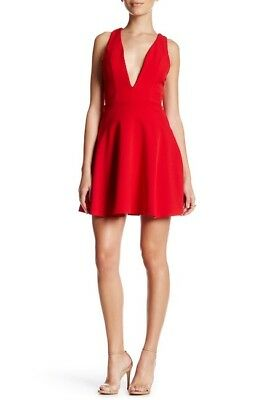 ffc993cc1ce NBD Women s Small Red Ride Or Die Dress Strappy Zip Back Plunging Neck WD20