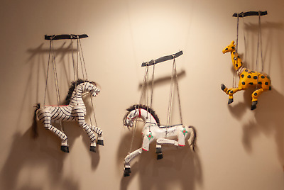 3 Vintage Folk Art Wooden Horse Marionette Puppet Hand Carved and Hand Painted
