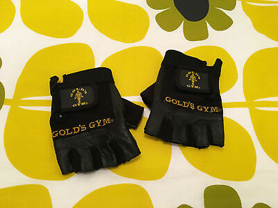 Gold's Gym Exercise Weight Lifting Fitness Gloves Leather Black Small
