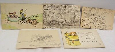 1910's Hand Drawn & Colored Animal Post Cards Group of 8 Different