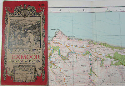 1926 old vintage OS Ordnance Survey one-inch Popular Edition Map 119 Exmoor