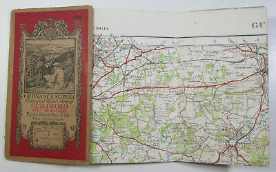1931 old OS Ordnance Survey one-inch Popular Edition Map 124 Guildford & Horsham