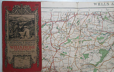 1919 OS Ordnance Survey Popular Edition one-inch map 121 Wells Frome & District