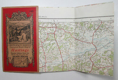 1921 old vintage OS Ordnance Survey Popular Edition one inch map 135 Hastings