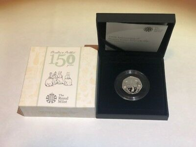 Beatrix Potter 150th Anniversary 50p Coin Silver Proof 2016 Royal Mint. Coin COA