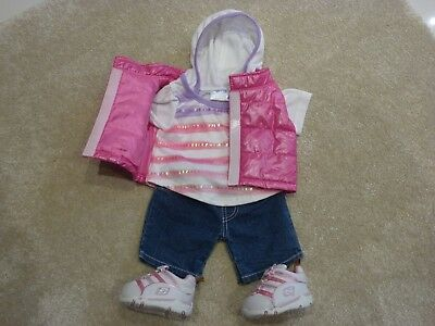 Build a Bear pink outfit clothes bundle body warmer hoody top jeans Skechers