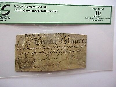 Colonial Currency N. Carolina NC-79, 1754, 20s PCGS VG-10 apparent