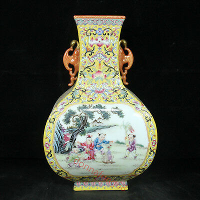 Chinese Exquisite Handmade Children playing pattern porcelain vase