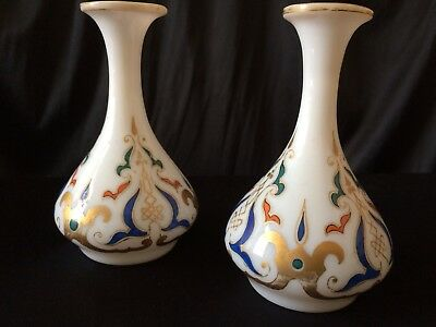 Antique Pair Of Enamel And Guilt Decorated Bohemian Opaque White Glass Vases
