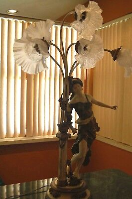 French Vintage Cast Metal Figural Woman 6 Light Candelabra Tall Table Lamp