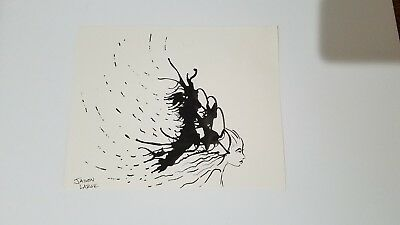 """Original Pen And Ink """"In Deep Thought"""" Woman Ink Blot Signed Jason Large"""