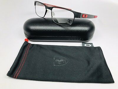 ✳New Oakley OX5079-0455 Black & Red FERRARI Carbon Plate Eyeglass 55mm w/Case