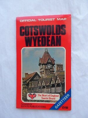 Vintage Official Tourist Map Cotswolds Wyedean