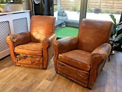 2X Vintage Antique French Leather Club Arm Chairs Distressed Rustic Shabby Chic
