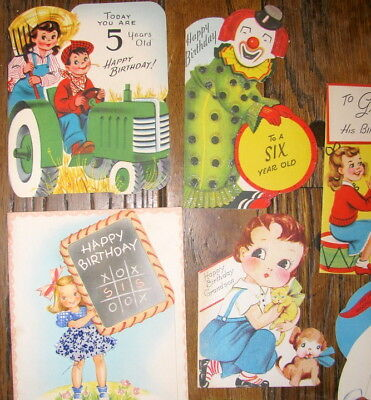 Lot Of 21 Unused Children's Vintage Birthday Greeting Cards For 1 2 3 4 5 & 6 Yr