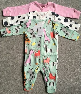 NEXT 3 Pack Baby Girl Sleepsuits Babygrows Pyjamas All Sizes NEW BNWT