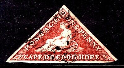 CAPE OF GOOD HOPE #3b 1p BRICK RED, 1855 IMPERF, VF, USED