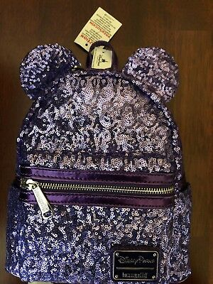 Disney World Minnie Mouse Purple Potion Ears Sequined Loungefly Backpack