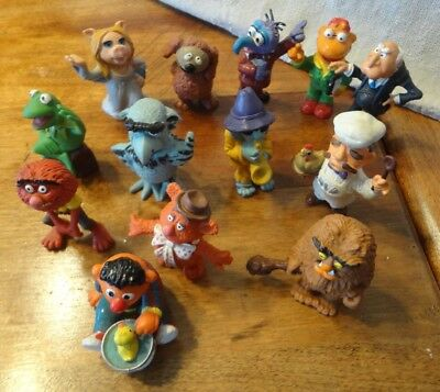 """Muppet figures  1983 vintage 13 figures. Plastic 2 25"""" tall, Made in Portugal"""